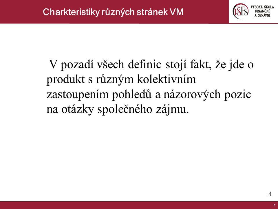 4.4. r Charkteristiky různých stránek VM V pozadí všech definic stojí fakt, že jde o produkt s různým kolektivním zastoupením pohledů a názorových poz