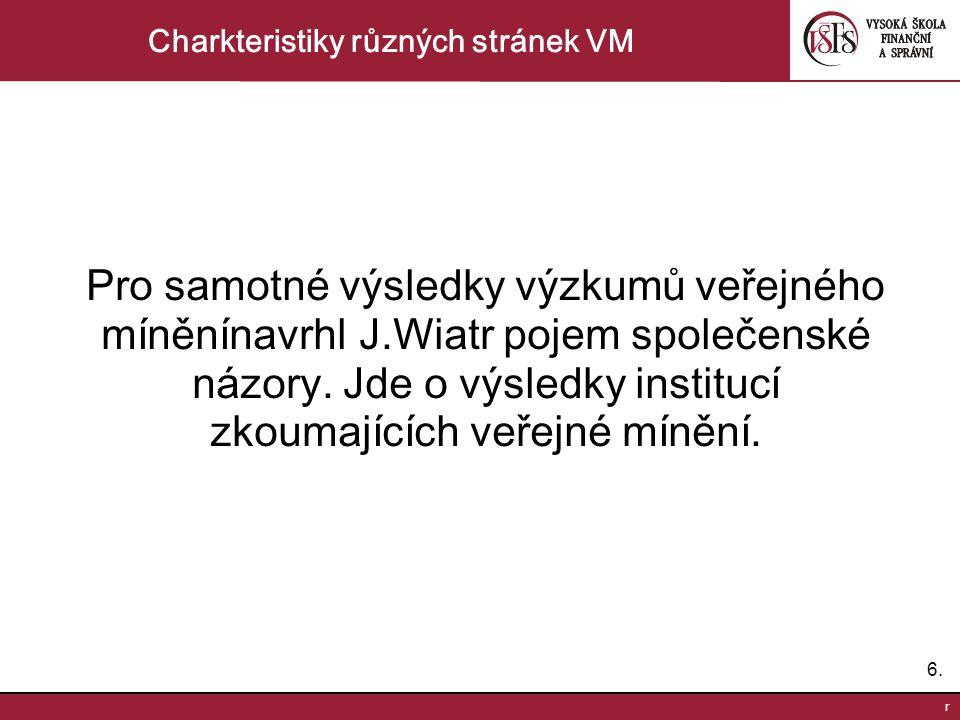 6.6. r Charkteristiky různých stránek VM Pro samotné výsledky výzkumů veřejného míněnínavrhl J.Wiatr pojem společenské názory. Jde o výsledky instituc
