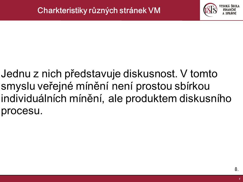 8.8. r Charkteristiky různých stránek VM Jednu z nich představuje diskusnost.