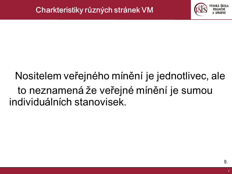 9.9. r Charkteristiky různých stránek VM Nositelem veřejného mínění je jednotlivec, ale to neznamená že veřejné mínění je sumou individuálních stanovi