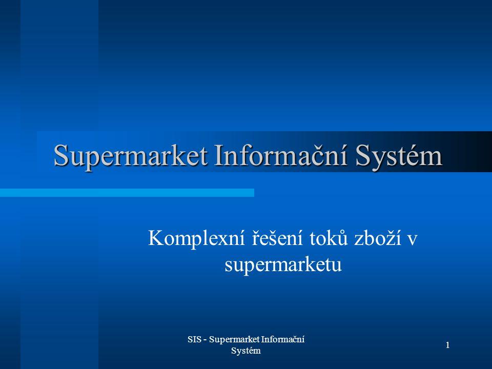 SIS - Supermarket Informační Systém 2 Informační systém supermarketu Evidence zboží Objednávky Pokladny Slevy (registrovaní zákazníci) Řešení problému expirace zboží Vracení zálohovaných lahví Internetový obchod (dodávky až do domu)
