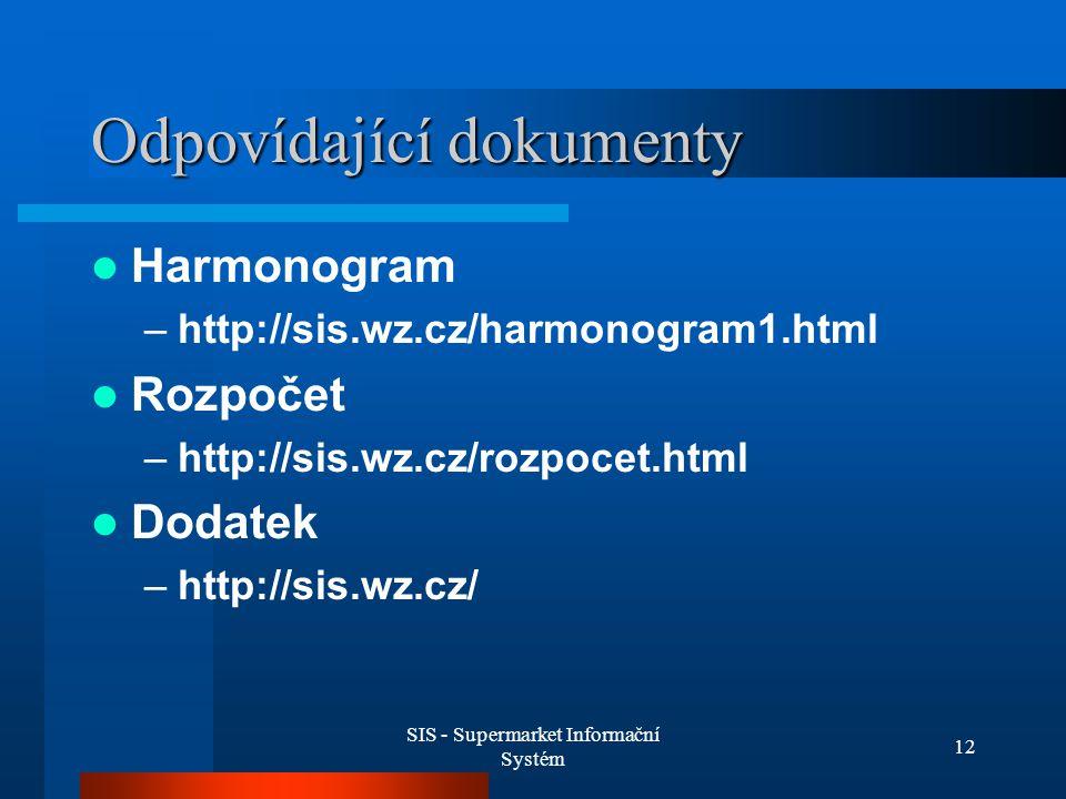 SIS - Supermarket Informační Systém 12 Odpovídající dokumenty Harmonogram –http://sis.wz.cz/harmonogram1.html Rozpočet –http://sis.wz.cz/rozpocet.html Dodatek –http://sis.wz.cz/