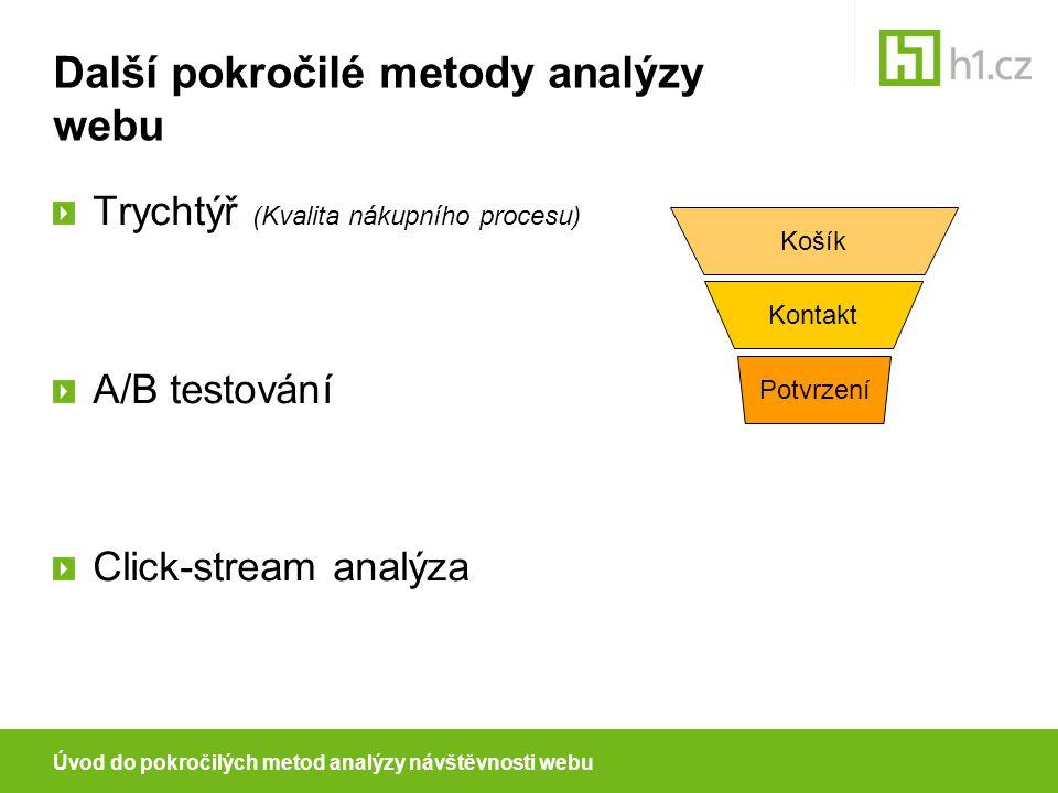 Další pokročilé metody analýzy webu Trychtýř (Kvalita nákupního procesu) A/B testování Click-stream analýza Kontakt Košík Potvrzení