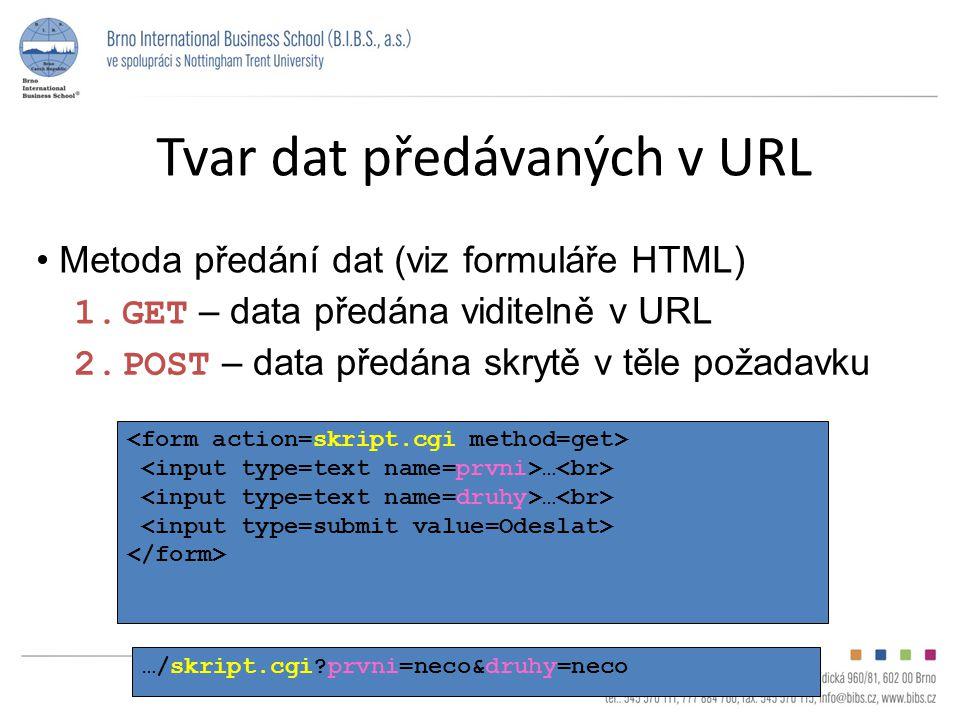 Tvar dat předávaných v URL Metoda předání dat (viz formuláře HTML) 1.GET – data předána viditelně v URL 2.POST – data předána skrytě v těle požadavku … …/skript.cgi?prvni=neco&druhy=neco