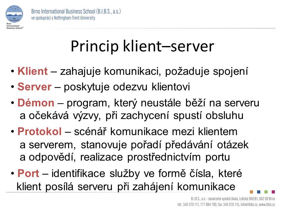 Princip klient–server Server – poskytuje odezvu klientovi Démon – program, který neustále běží na serveru a očekává výzvy, při zachycení spustí obsluhu Protokol – scénář komunikace mezi klientem a serverem, stanovuje pořadí předávání otázek a odpovědí, realizace prostřednictvím portu Klient – zahajuje komunikaci, požaduje spojení Port – identifikace služby ve formě čísla, které klient posílá serveru při zahájení komunikace