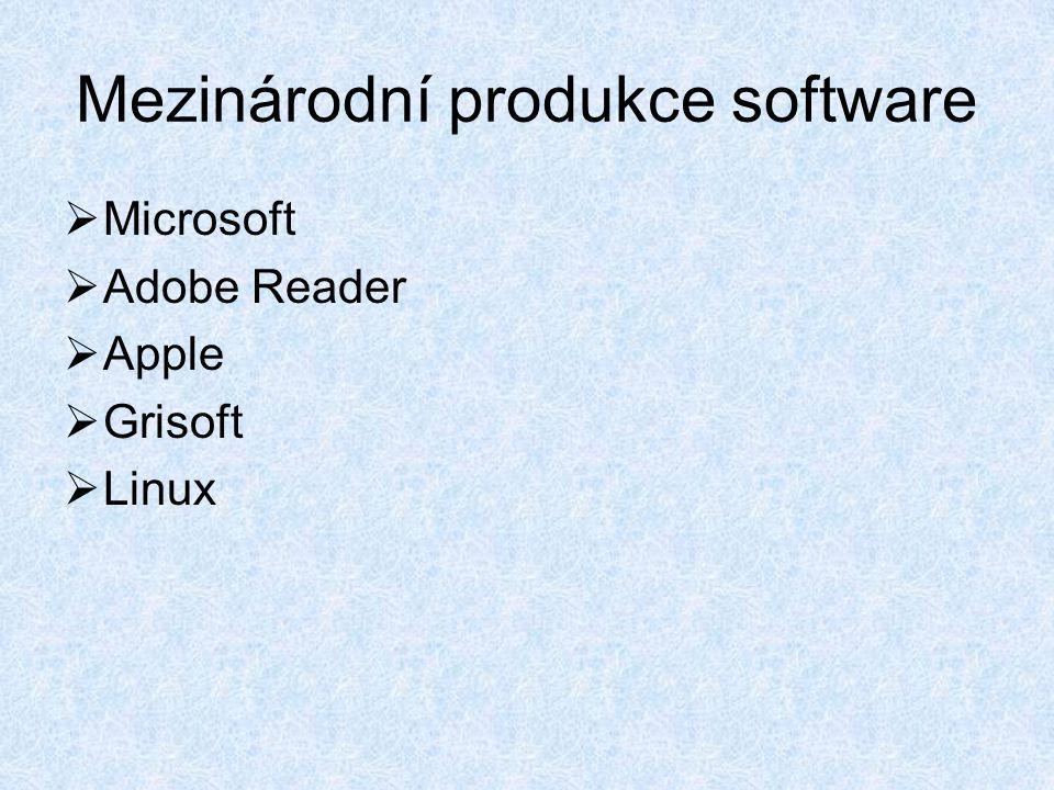 Mezinárodní produkce software  Microsoft  Adobe Reader  Apple  Grisoft  Linux