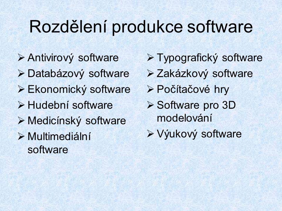 Rozdělení produkce software  Antivirový software  Databázový software  Ekonomický software  Hudební software  Medicínský software  Multimediální software  Typografický software  Zakázkový software  Počítačové hry  Software pro 3D modelování  Výukový software