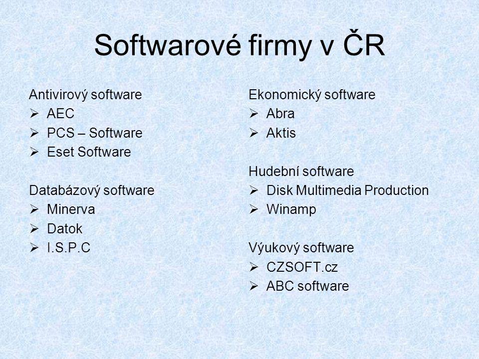 Softwarové firmy v ČR Antivirový software  AEC  PCS – Software  Eset Software Databázový software  Minerva  Datok  I.S.P.C Ekonomický software 