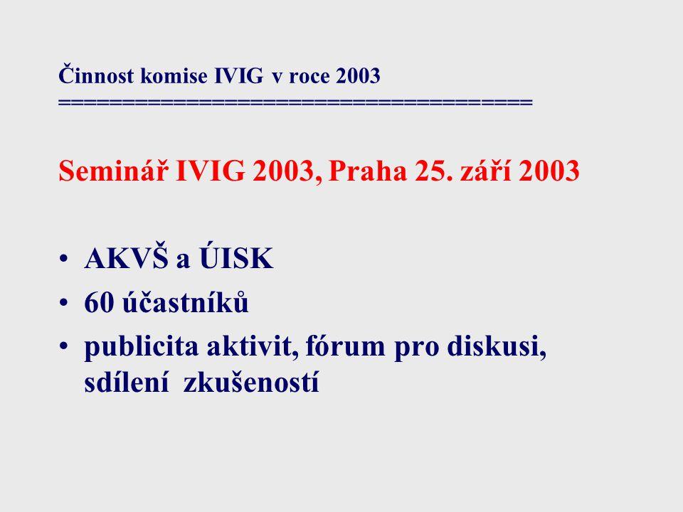 Činnost komise IVIG v roce 2003 ===================================== Seminář IVIG 2003, Praha 25. září 2003 AKVŠ a ÚISK 60 účastníků publicita aktivi