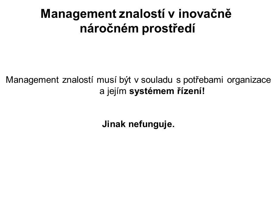 Management znalostí v inovačně náročném prostředí Management znalostí musí být v souladu s potřebami organizace a jejím systémem řízení.