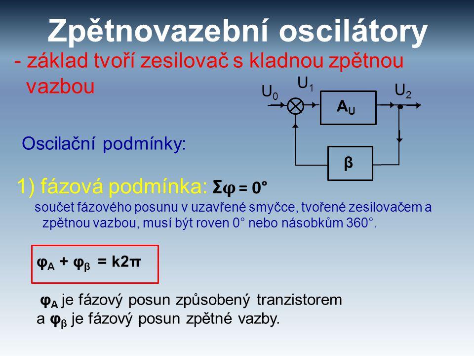 Zpětnovazební oscilátory - základ tvoří zesilovač s kladnou zpětnou vazbou Oscilační podmínky: 1) fázová podmínka: Σ φ = 0° součet fázového posunu v u