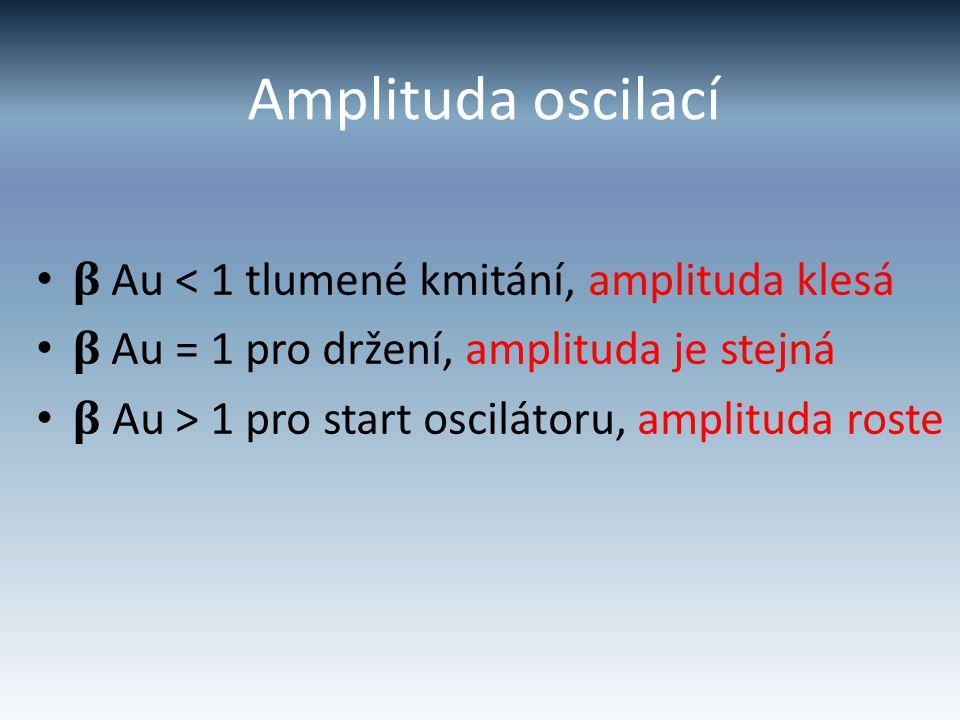 Amplituda oscilací β Au < 1 tlumené kmitání, amplituda klesá β Au = 1 pro držení, amplituda je stejná β Au > 1 pro start oscilátoru, amplituda roste