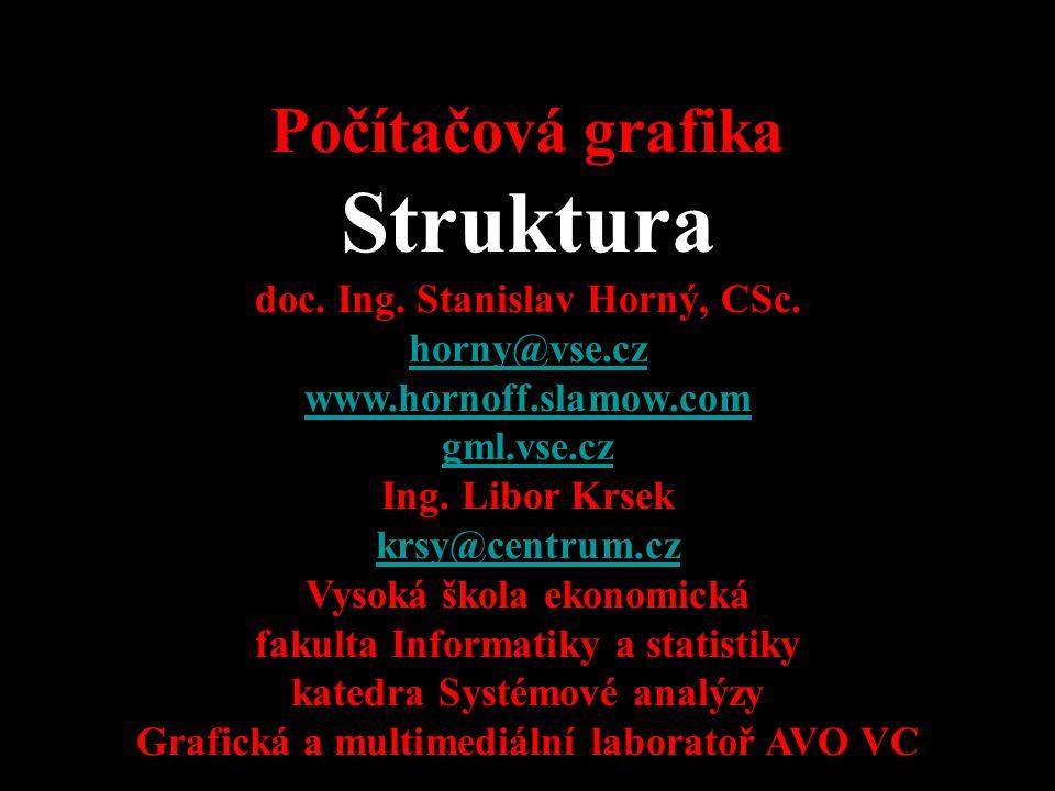 4SA339 Počítačová grafika Struktura doc. Ing. Stanislav Horný, CSc. horny@vse.cz www.hornoff.slamow.com gml.vse.cz Ing. Libor Krsek krsy@centrum.cz@ V