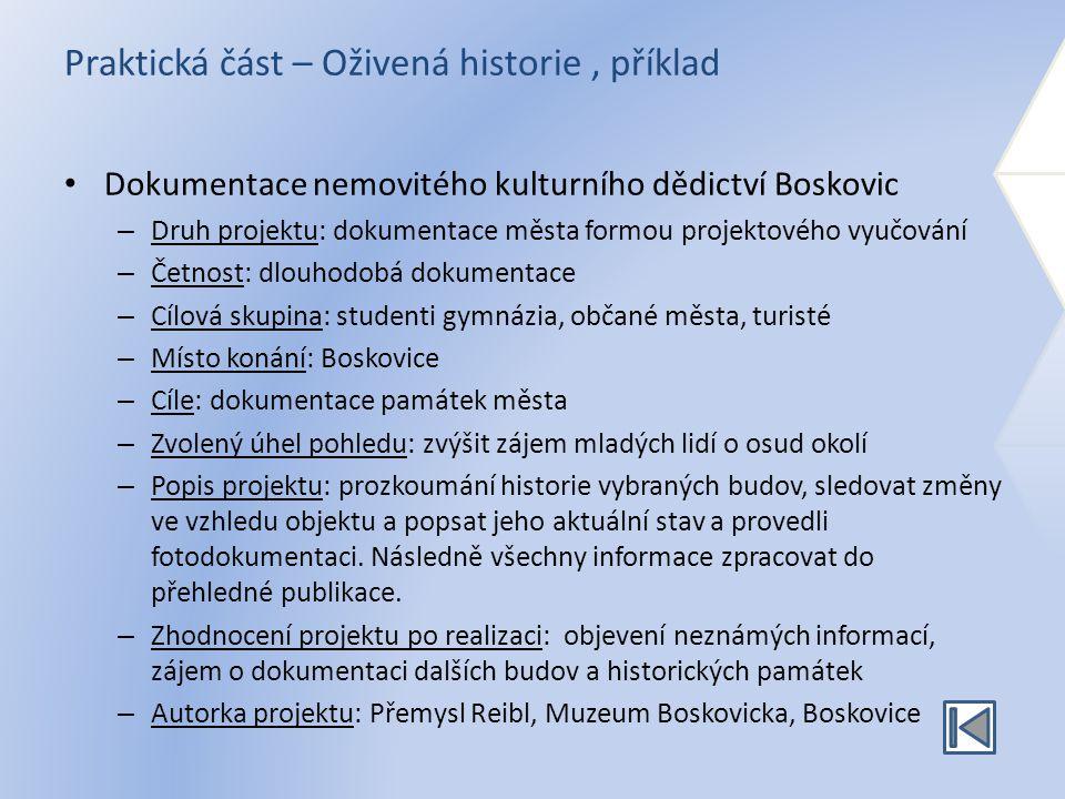 Praktická část – Oživená historie, příklad Dokumentace nemovitého kulturního dědictví Boskovic – Druh projektu: dokumentace města formou projektového
