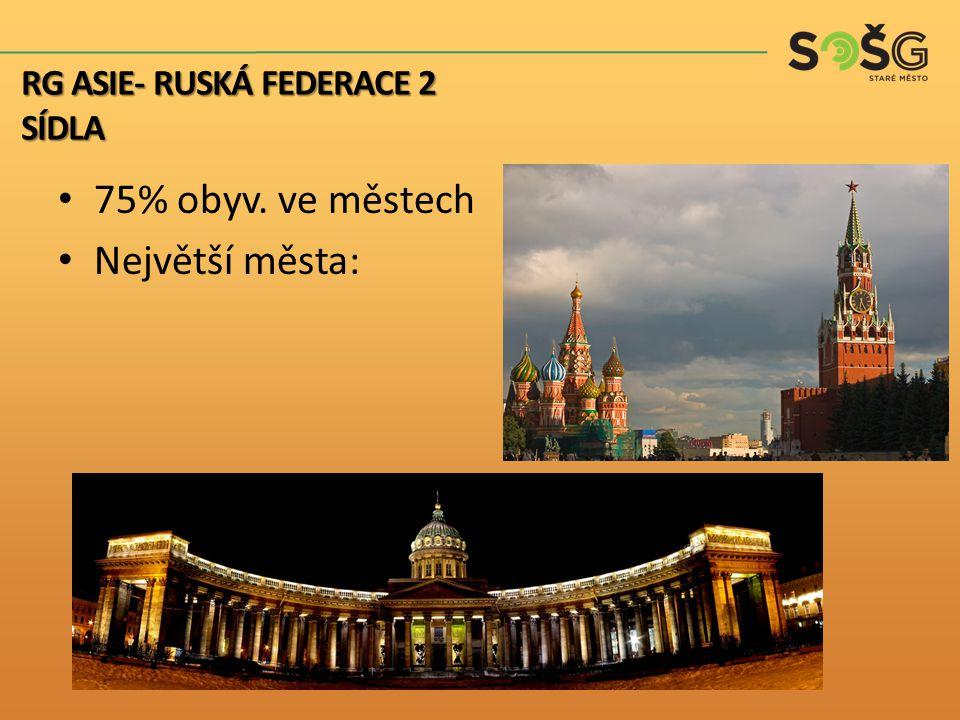 75% obyv. ve městech Největší města: RG ASIE- RUSKÁ FEDERACE 2 SÍDLA