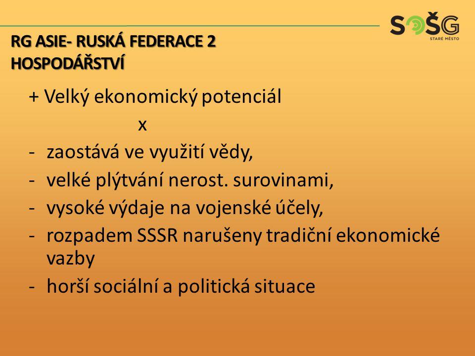 """Překážky rozvoje: – – Většina majetku v rukou """"nových Rusů – v Rusku neinvestují Produktivita práce na úrovni rozvojových zemí RG ASIE- RUSKÁ FEDERACE 2 HOSPODÁŘSTVÍ"""