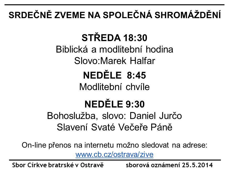 Sbor Církve bratrské v Ostravě sborová oznámení 25.5.