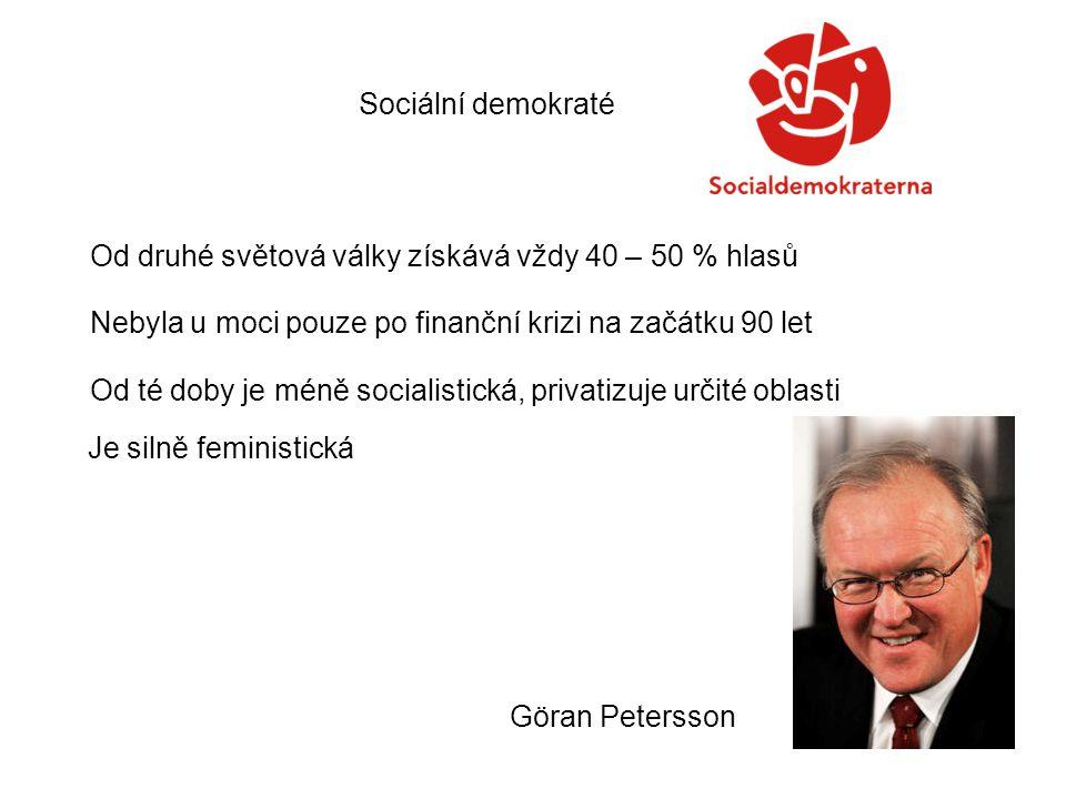 Sociální demokraté Od druhé světová války získává vždy 40 – 50 % hlasů Nebyla u moci pouze po finanční krizi na začátku 90 let Od té doby je méně socialistická, privatizuje určité oblasti Je silně feministická Göran Petersson