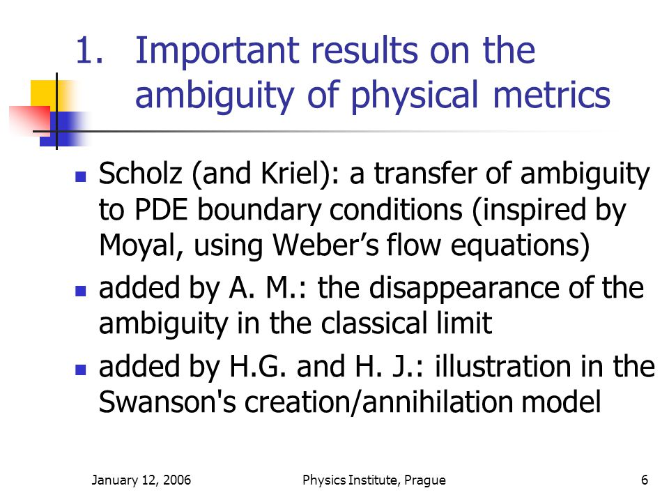 January 12, 2006Physics Institute, Prague6 1.Important results on the ambiguity of physical metrics Scholz (and Kriel): a transfer of ambiguity to PDE boundary conditions (inspired by Moyal, using Weber's flow equations) added by A.