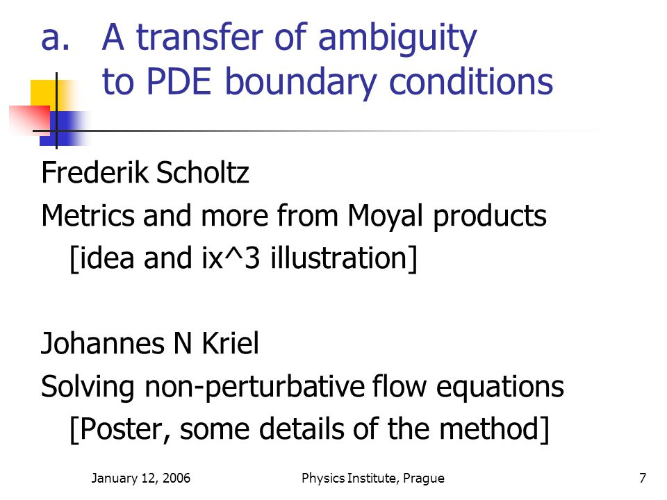 January 12, 2006Physics Institute, Prague7 a.A transfer of ambiguity to PDE boundary conditions Frederik Scholtz Metrics and more from Moyal products [idea and ix^3 illustration] Johannes N Kriel Solving non-perturbative flow equations [Poster, some details of the method]