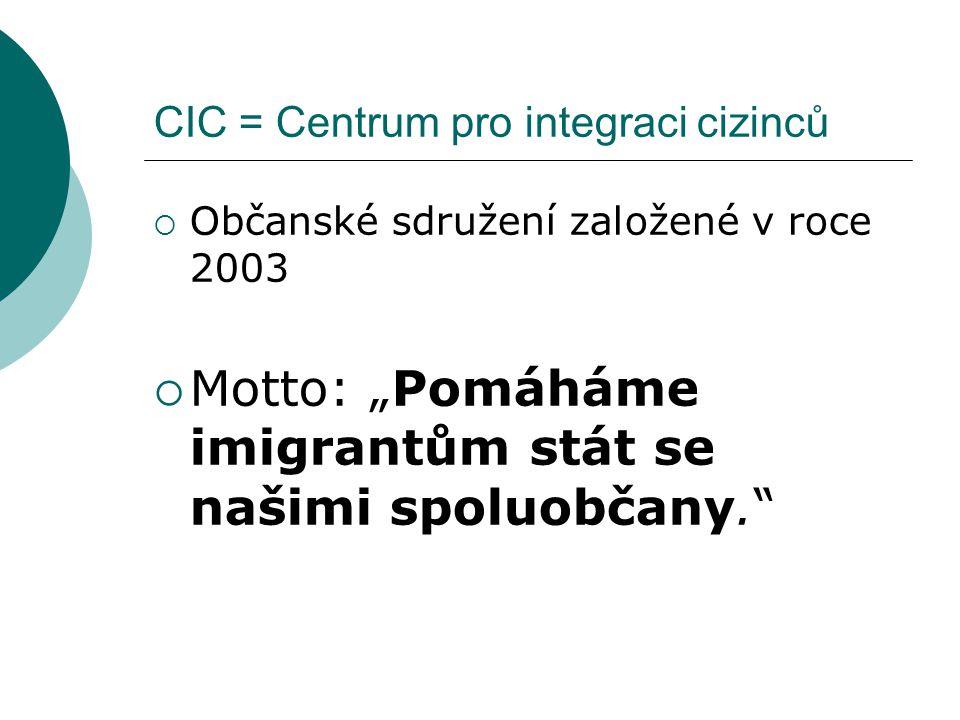 """CIC = Centrum pro integraci cizinců  Občanské sdružení založené v roce 2003  Motto: """"Pomáháme imigrantům stát se našimi spoluobčany."""