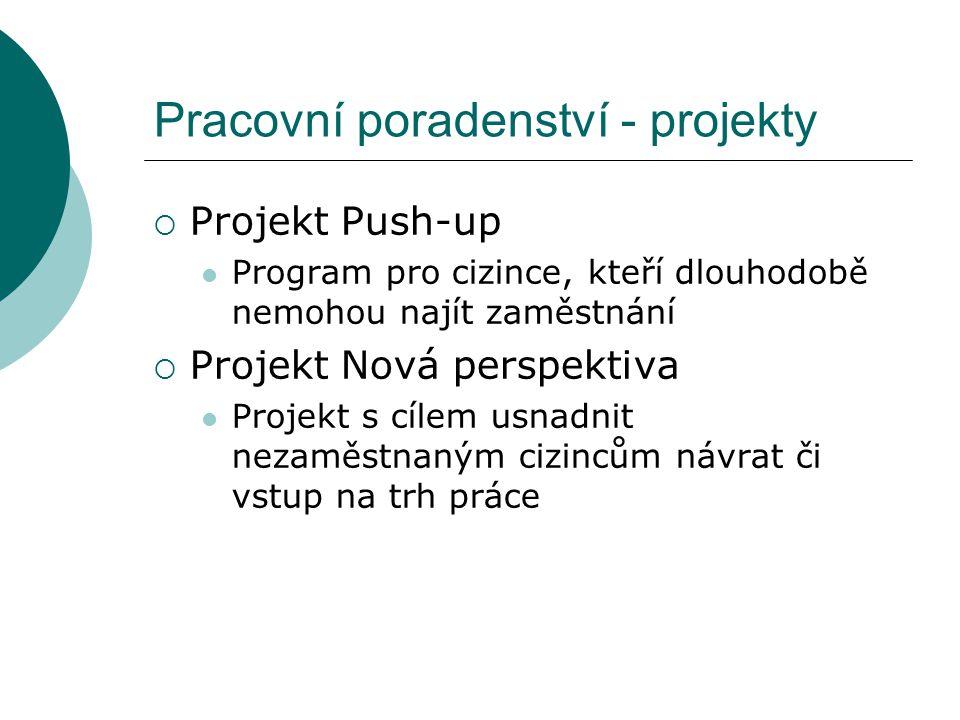 Pracovní poradenství - projekty  Projekt Push-up Program pro cizince, kteří dlouhodobě nemohou najít zaměstnání  Projekt Nová perspektiva Projekt s cílem usnadnit nezaměstnaným cizincům návrat či vstup na trh práce