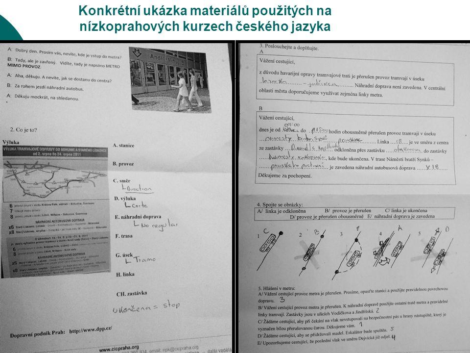 Konkrétní ukázka materiálů použitých na nízkoprahových kurzech českého jazyka