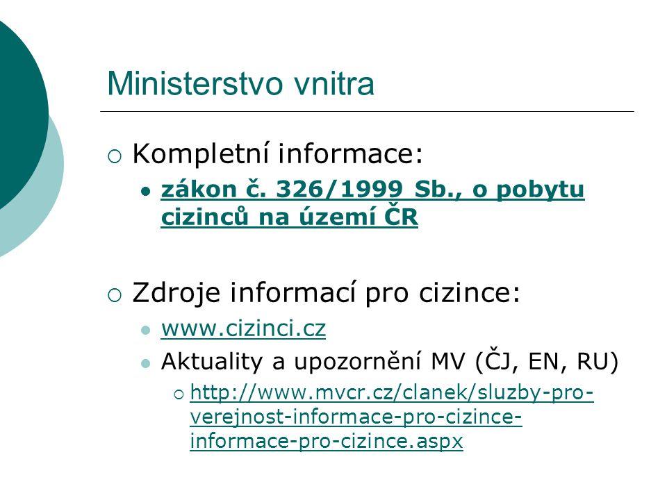 Ministerstvo vnitra  Kompletní informace: zákon č.