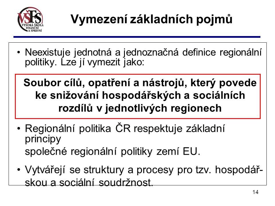 14 Vymezení základních pojmů Neexistuje jednotná a jednoznačná definice regionální politiky.
