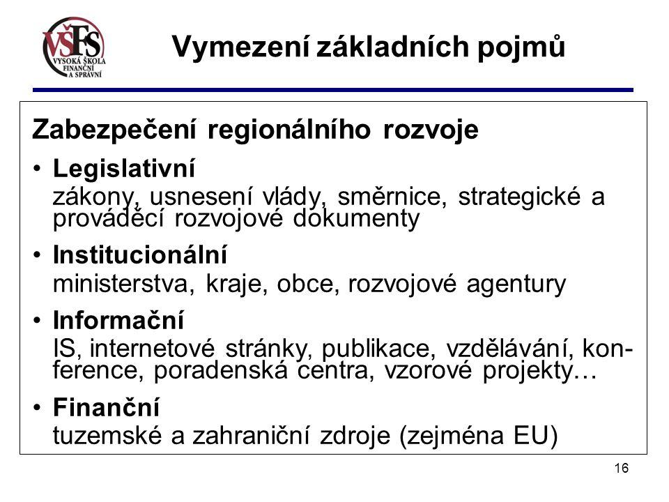 16 Vymezení základních pojmů Zabezpečení regionálního rozvoje Legislativní zákony, usnesení vlády, směrnice, strategické a prováděcí rozvojové dokumenty Institucionální ministerstva, kraje, obce, rozvojové agentury Informační IS, internetové stránky, publikace, vzdělávání, kon- ference, poradenská centra, vzorové projekty… Finanční tuzemské a zahraniční zdroje (zejména EU)