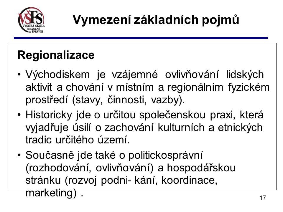 17 Vymezení základních pojmů Regionalizace Východiskem je vzájemné ovlivňování lidských aktivit a chování v místním a regionálním fyzickém prostředí (stavy, činnosti, vazby).