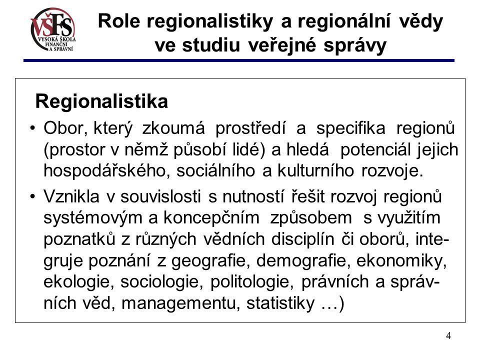 4 Regionalistika Obor, který zkoumá prostředí a specifika regionů (prostor v němž působí lidé) a hledá potenciál jejich hospodářského, sociálního a kulturního rozvoje.