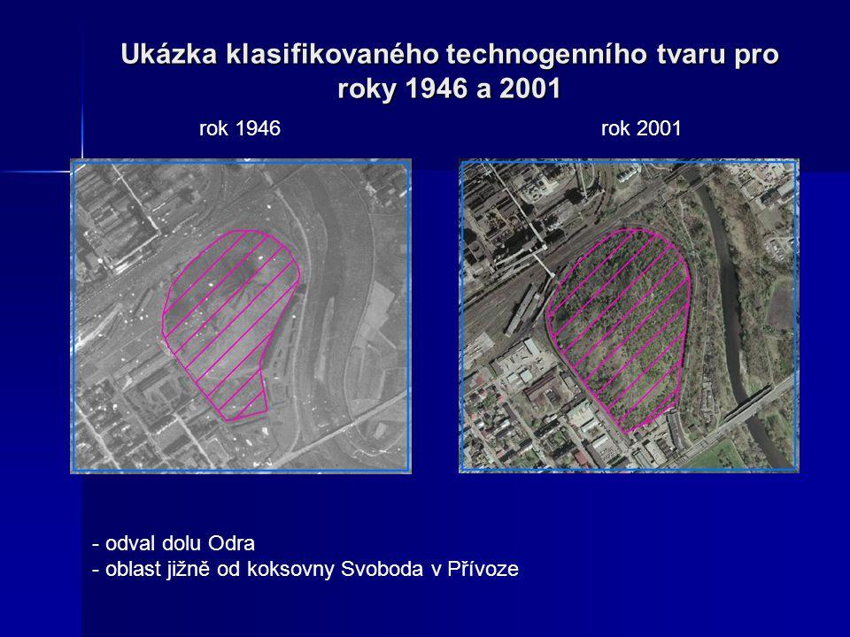 Ukázka klasifikovaného technogenního tvaru pro roky 1946 a 2001 - odval dolu Odra - oblast jižně od koksovny Svoboda v Přívoze rok 1946rok 2001