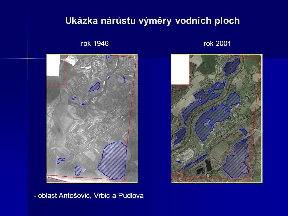 Ukázka nárůstu výměry vodních ploch rok 1946rok 2001 - oblast Antošovic, Vrbic a Pudlova