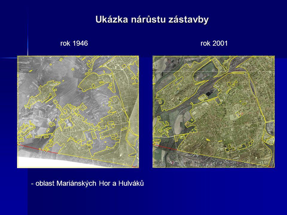 Ukázka nárůstu zástavby - oblast Mariánských Hor a Hulváků rok 1946rok 2001