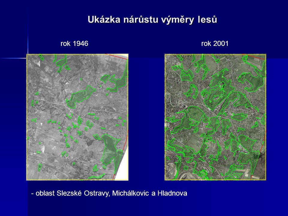 Ukázka nárůstu výměry lesů - oblast Slezské Ostravy, Michálkovic a Hladnova rok 1946rok 2001