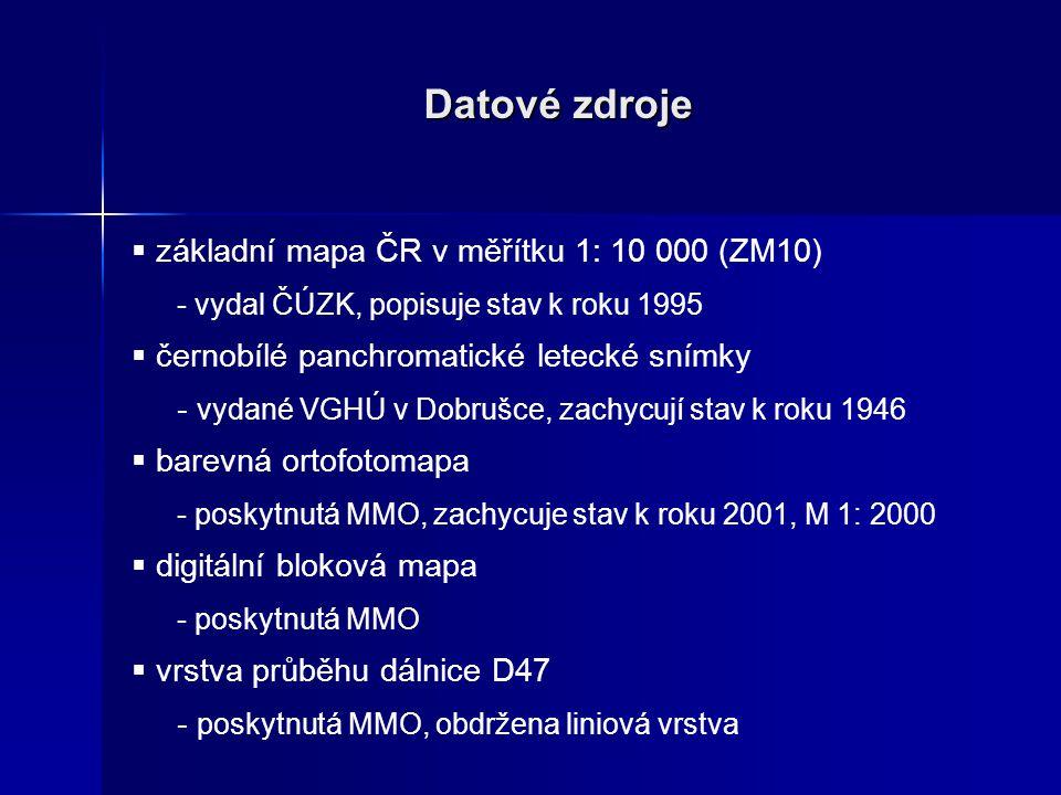 Datové zdroje  základní mapa ČR v měřítku 1: 10 000 (ZM10) - vydal ČÚZK, popisuje stav k roku 1995  černobílé panchromatické letecké snímky - vydané