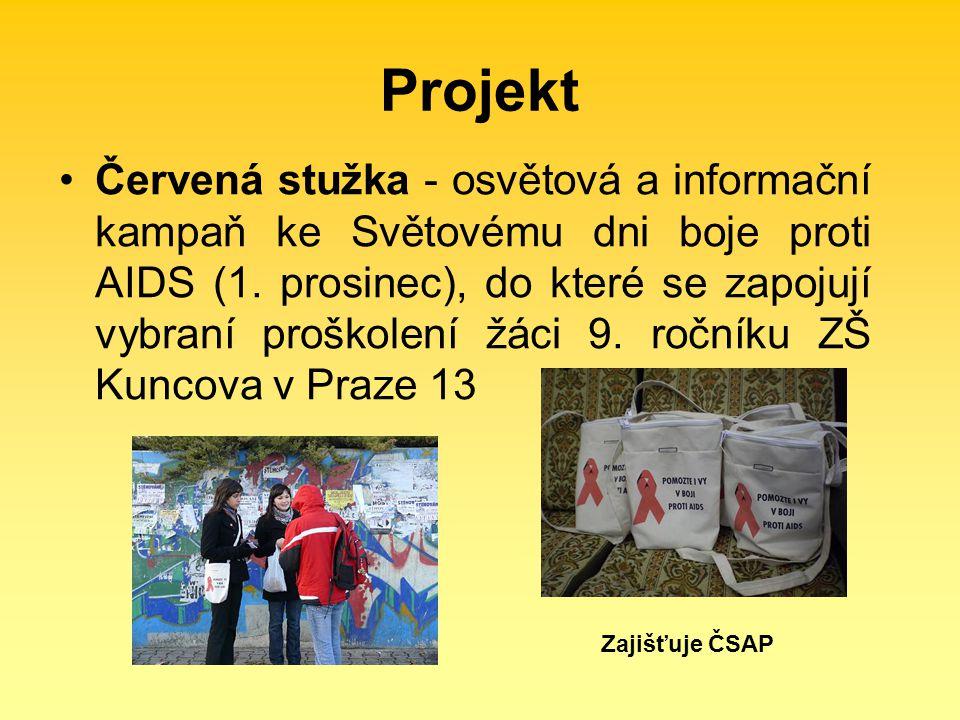 Projekt Červená stužka - osvětová a informační kampaň ke Světovému dni boje proti AIDS (1. prosinec), do které se zapojují vybraní proškolení žáci 9.