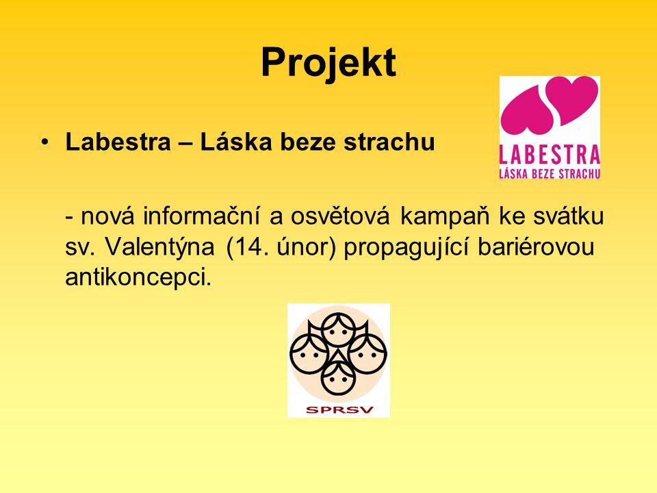 Projekt Labestra – Láska beze strachu - nová informační a osvětová kampaň ke svátku sv. Valentýna (14. únor) propagující bariérovou antikoncepci.