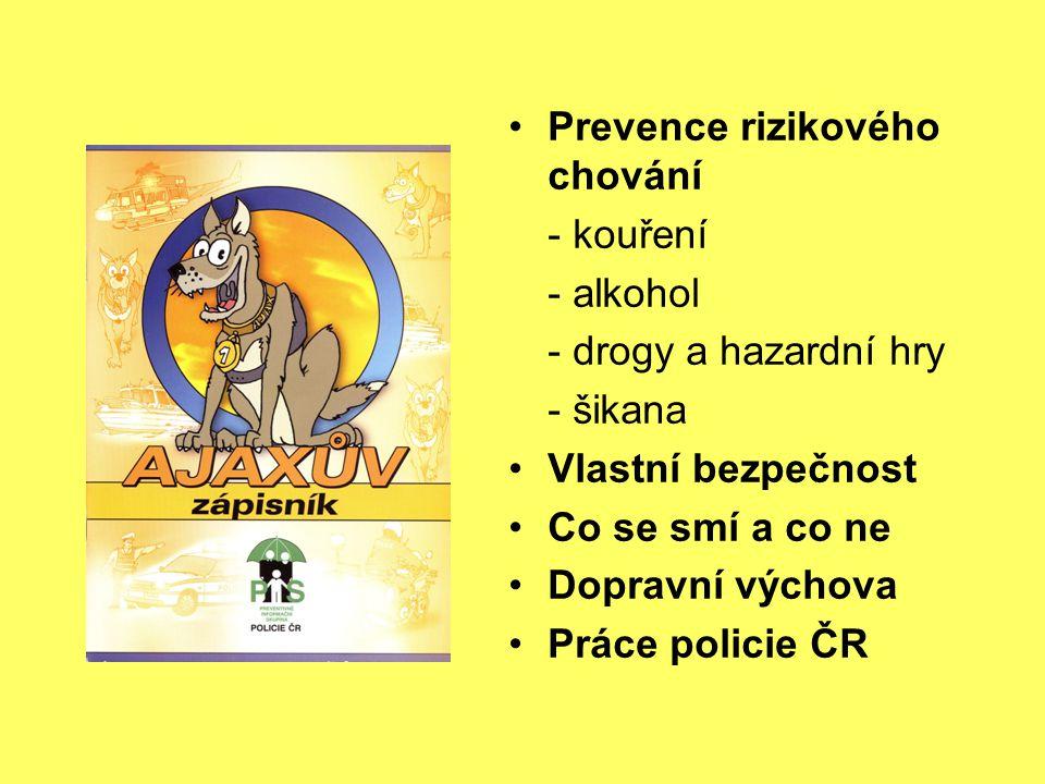 Prevence rizikového chování - kouření - alkohol - drogy a hazardní hry - šikana Vlastní bezpečnost Co se smí a co ne Dopravní výchova Práce policie ČR