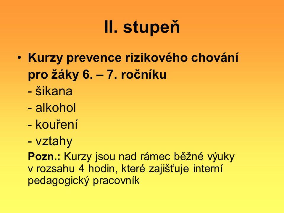 II. stupeň Kurzy prevence rizikového chování pro žáky 6. – 7. ročníku - šikana - alkohol - kouření - vztahy Pozn.: Kurzy jsou nad rámec běžné výuky v