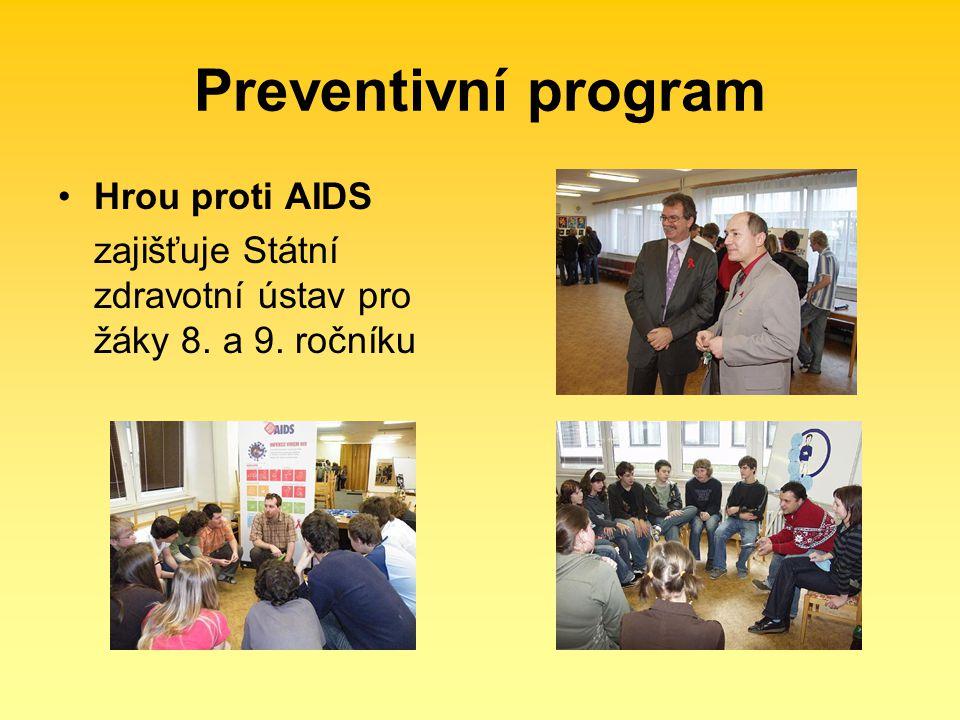 Preventivní program Hrou proti AIDS zajišťuje Státní zdravotní ústav pro žáky 8. a 9. ročníku