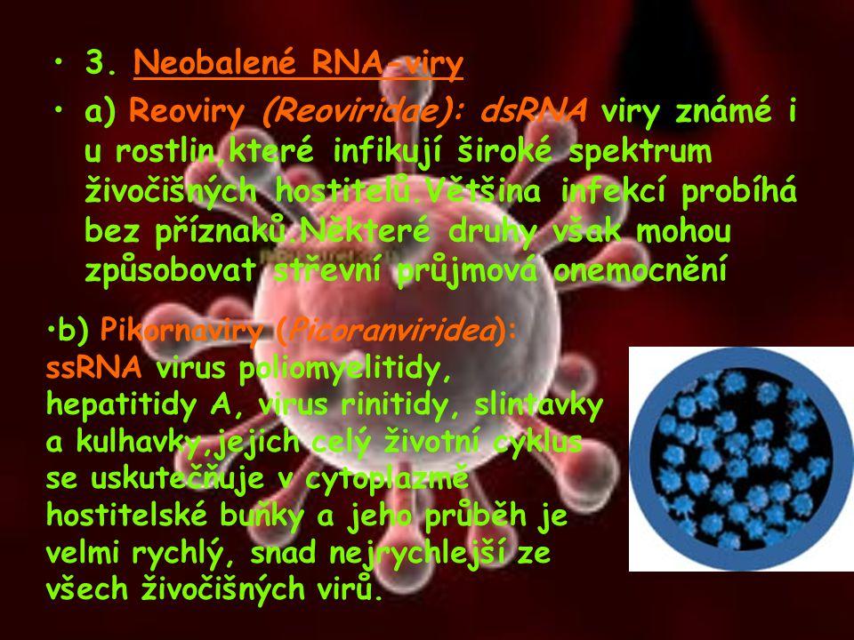 3. Neobalené RNA-viry a) Reoviry (Reoviridae): dsRNA viry známé i u rostlin,které infikují široké spektrum živočišných hostitelů.Většina infekcí probí
