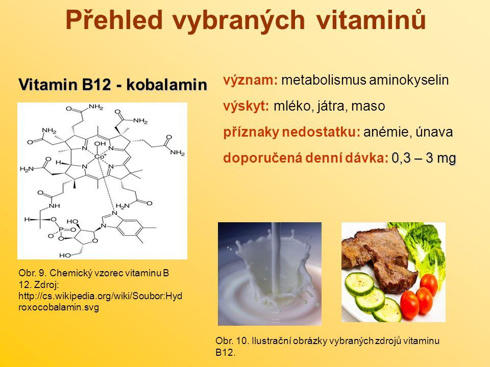 Přehled vybraných vitaminů Vitamin B12 - kobalamin význam: metabolismus aminokyselin výskyt: mléko, játra, maso příznaky nedostatku: anémie, únava 0,3
