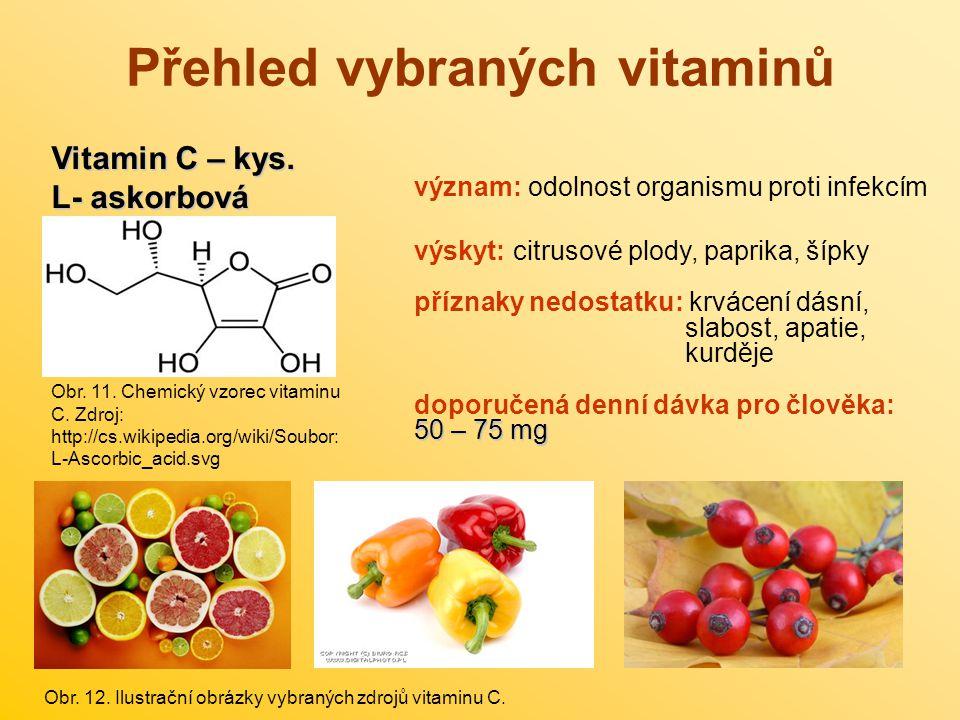 Přehled vybraných vitaminů Vitamin C – kys. L- askorbová Obr. 11. Chemický vzorec vitaminu C. Zdroj: http://cs.wikipedia.org/wiki/Soubor: L-Ascorbic_a