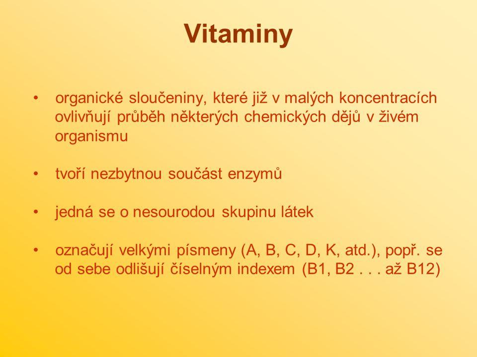 Podle rozpustnosti vitaminy dělíme na dvě skupiny: a) rozpustné ve vodě - B, C, H b) rozpustné v tucích - A, D, E, K H C B Obr.