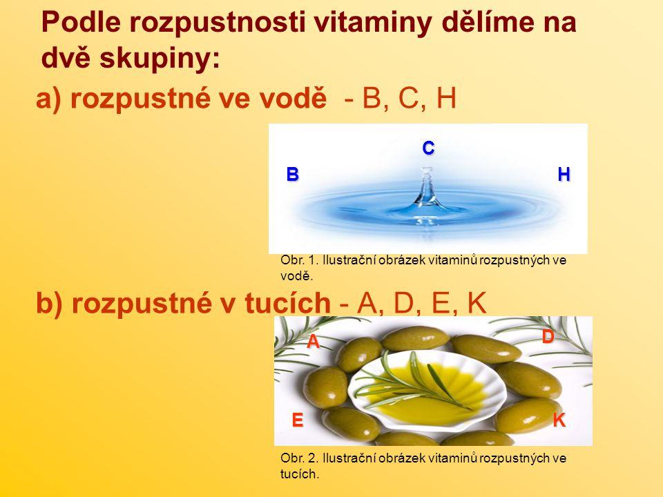 Podle rozpustnosti vitaminy dělíme na dvě skupiny: a) rozpustné ve vodě - B, C, H b) rozpustné v tucích - A, D, E, K H C B Obr. 1. Ilustrační obrázek