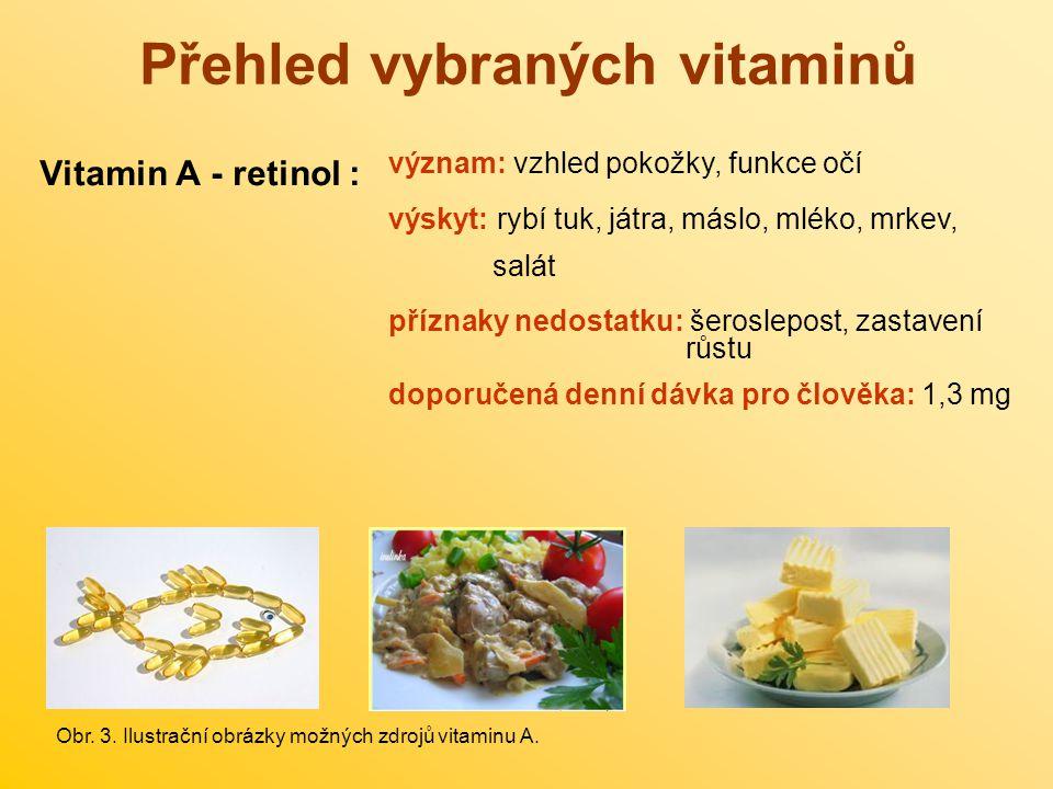Přehled vybraných vitaminů Vitamin A - retinol : význam: vzhled pokožky, funkce očí výskyt: rybí tuk, játra, máslo, mléko, mrkev, salát příznaky nedos