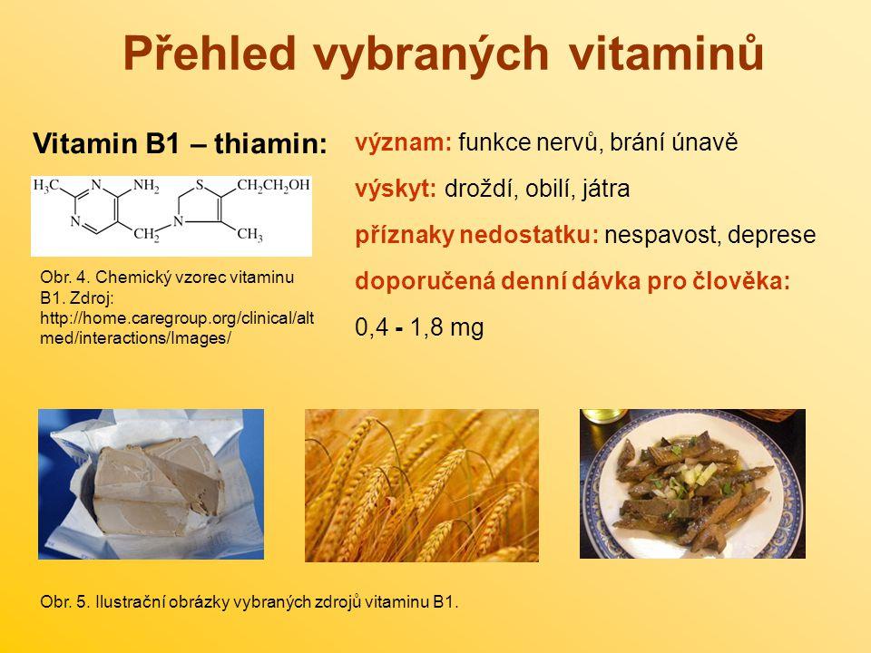 Přehled vybraných vitaminů Vitamin B1 – thiamin: význam: funkce nervů, brání únavě výskyt: droždí, obilí, játra příznaky nedostatku: nespavost, depres