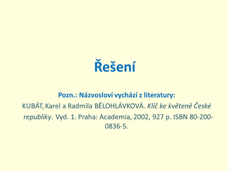 Řešení Pozn.: Názvosloví vychází z literatury: KUBÁT, Karel a Radmila BĚLOHLÁVKOVÁ. Klíč ke květeně České republiky. Vyd. 1. Praha: Academia, 2002, 92